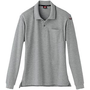 長袖ポロシャツ 505−56 ミドルグレー(杢) (SS〜3L)