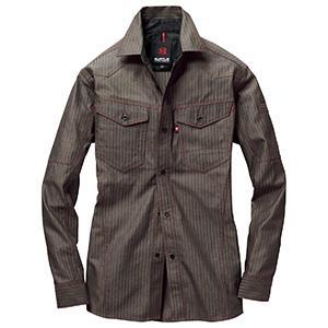 長袖シャツ 1515−85 ブラウン ヘリンボーン (SS〜3L)