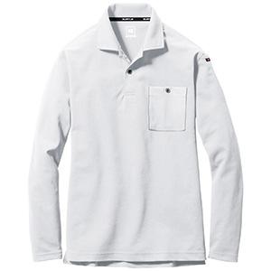 長袖ポロシャツ 665−029 ホワイト (SS〜3L)