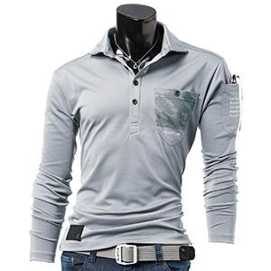 長袖ポロシャツ 4047−5 シルバー (M〜3L)