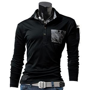 長袖ポロシャツ 4047−35 ブラック (M〜3L)
