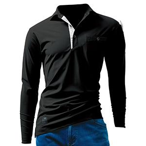 長袖アイスポロシャツ ユニセックス 225−35 ブラック (S〜XXL)