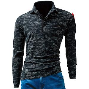 長袖アイスポロシャツ ユニセックス 225−65 デジタルブラック (S〜XXL)