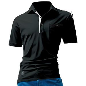 半袖アイスポロシャツ ユニセックス 227−35 ブラック (S〜XXL)