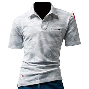 オープンカラーポロシャツ 4058−58 カモフラホワイト (M〜XXL)