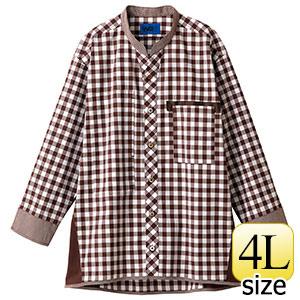 八分袖シャツ 63527 ブラウン 4L