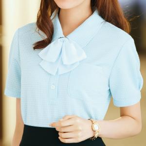 半袖 ポロシャツ リボン付 36592 サックス SS〜3L