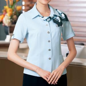 半袖 オーバーシャツ リボン付 50122 サックス 5〜15号
