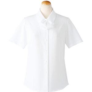 半袖ブラウス (リボン付) 36698 ホワイト (5〜19号)