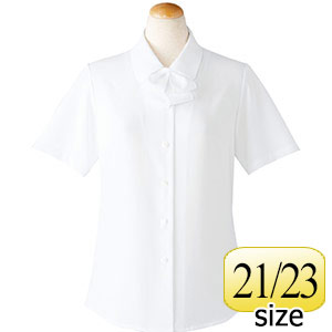 半袖ブラウス (リボン付) 36698 ホワイト 21・23号