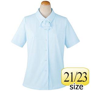 半袖ブラウス リボン付 36812 サックス 21・23号