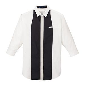 メンズ 七分袖シャツ 1689 00 ホワイト×ブラック