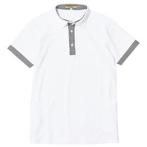 コンビポロシャツ 1651 XS ホワイト×千鳥