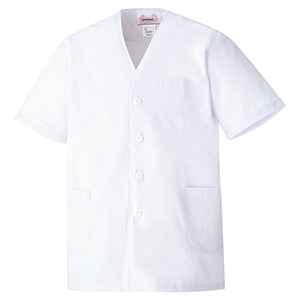 男子衿なし 半袖 白衣 EB261