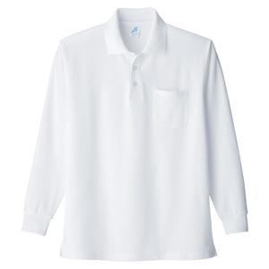 清涼感長袖ポロシャツ (ポケ付) T19SN−12 ホワイト