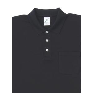 制電糸入 清涼感長袖ポロシャツ (ポケ付) T25SL−011 ブラック