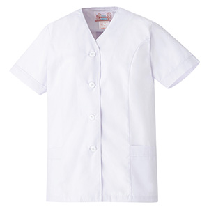 女子衿なし 半袖 白衣 EB451