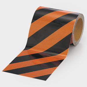 高輝度テープ 374−85 橙/黒 150幅×10m