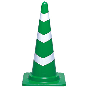 反射コーン 385−08 700H 緑/白反射材