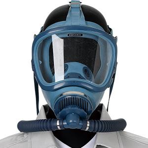 電動送風機形ホースマスク SHV−105 腰ベルト付 2本蛇管式