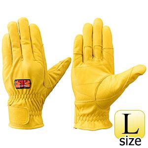 トンボレックス 牛革手袋 C−409Y 中厚・ガンカット仕様 イエロー L