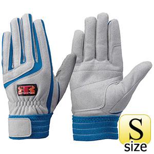 トンボレックス 人工皮革手袋 E−129BU 中厚 シルバーグレー×ブルー S