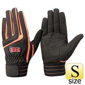 トンボレックス 人工皮革手袋 E−129BK 中厚 ブラック×オレンジ S