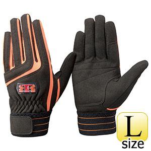 トンボレックス 人工皮革手袋 E−129BK 中厚 ブラック×オレンジ L