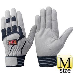 トンボレックス 人工皮革手袋 E−124NV 中厚 シルバーグレー×ネイビー M