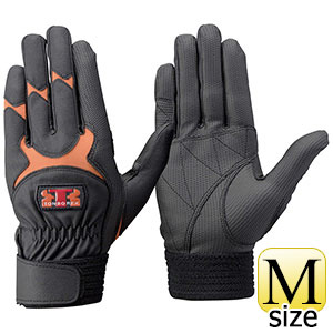 トンボレックス 合成皮革手袋 E−838R 薄手・ガンカット ブラック×オレンジ M