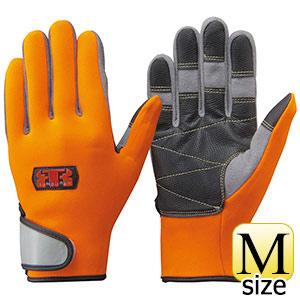 トンボレックス 水難救助用手袋 人工皮革補強 N−903R オレンジ×グレー M