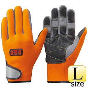 トンボレックス 水難救助用手袋 人工皮革補強 N−903R オレンジ×グレー L