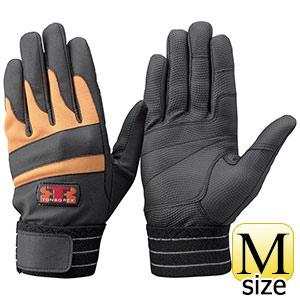 トンボレックス 合皮皮革×甲ニット手袋 E−843R ブラック×オレンジ M
