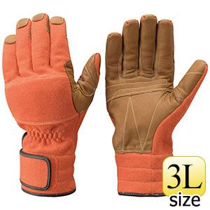 トンボレックス ケブラー(R)繊維製手袋 K−A181R オレンジ×茶色 3L