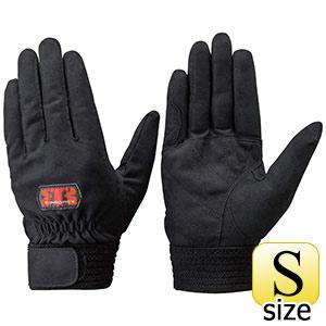 トンボレックス 人工皮革製手袋 E−REX22BK 手の平補強当て付タイプ S