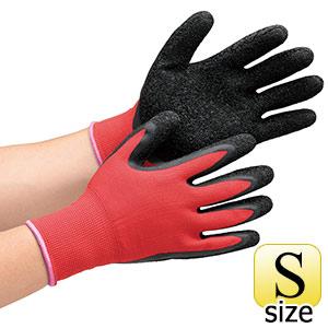 作業手袋 ハイグリップ 天然ゴム背抜き手袋 MHG130 レッド×ブラック S