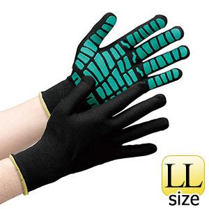 作業手袋 ハイグリップ 天然ゴムライナー MHG−134 ブラック×グリーンLL