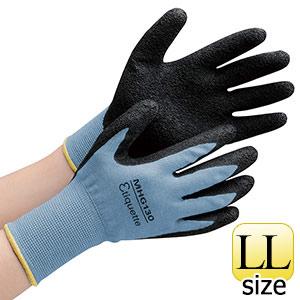 消臭機能糸使用作業手袋 ハイグリップ天然ゴム背抜き MHG130エチケット LL