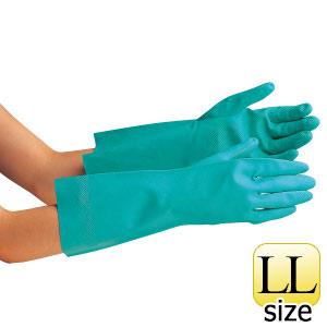 ニトリル炊事用手袋 ベルテ252 グリーン 厚手 LL 10双入