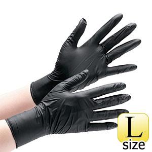 ニトリルディスポ手袋 ベルテ740 ブラック L 粉なし 100枚