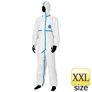 防護服 デュポン(TM) タイベック(R) ソフトウェア �V型フード付 XXL