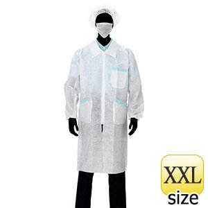 白衣3点セット 2−01SP (ファスナー、ポケット付) 5セット/束 XXL