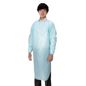 使い捨て保護衣 WiSMプラスチックガウン ブルー 20枚/箱
