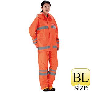 夜間作業用レインウェア 安全レイン FS−6000 オレンジ BL