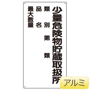 アルミ製危険物標識 少量危険物貯蔵取扱所 319−081