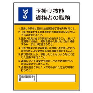 作業主任者職務板 808−25 玉掛け技能資格者の職務