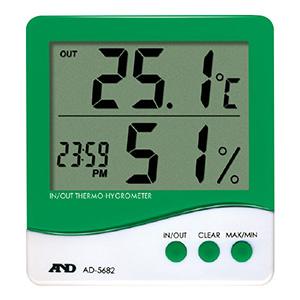 熱中対策 時計付き温湿度計 AD−5682