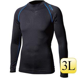 ロングスリーブ クルーネックシャツ JW−540 ブラック×ブルー 3L