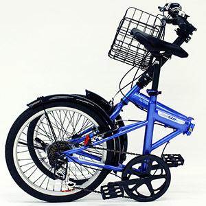 ノーパンク折畳自転車 カゴ付 MG−G206NF−BL ブルー
