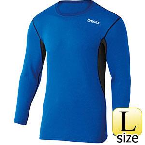 BTデュアルメッシュロングスリーブ クルーネックシャツ ブルー×ネイビー L